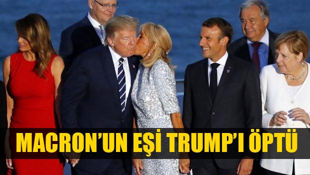 G7 Zirvesi'ne damga vuran fotoğraf! Macron'un eşi Brigitte Trump'ı böyle öptü.... ile ilgili görsel sonucu